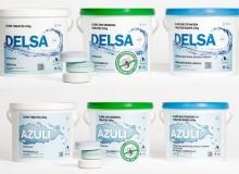 Las marcas Delsa y Azuli de Ercros  para el tratamiento del agua de piscina renuevan su imagen